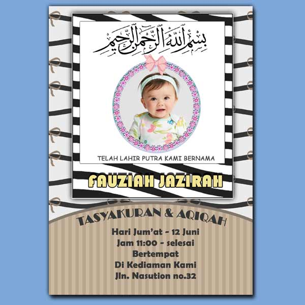 Template undangan aqiqah unik gratis download format photoshop